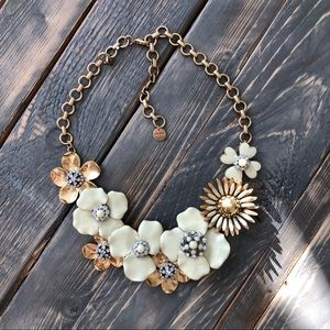 Stella & Dot Cream and Gold Statement Necklace